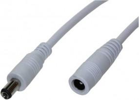 Niedervolt Verlängerungskabel, 5,5 mm x 2,1 mm Stecker - Buchse, belastbar bis 500 mA/12V, weiss