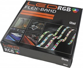 LED Flex Stripe RGB IP44, inkl. Fernbedienung, Kontroller und Netzteil. DC12V, 2A (24 Watt),
