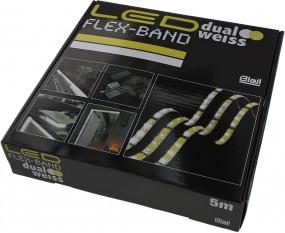 LED Flex Stripe dualweiss IP44, inkl. Fernbedienung, Kontroller und Netzteil. DC12V, 2A (24 Watt)