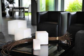 Deko Leuchte Cube M, L 40 | B 40 | H 40 cm cm, Lithium Akku, DC 7,5V/600mA, 27 LEDs, 9 x weiss