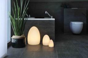 Deko Leuchte Egg M, ø 16 cm| H 22 cm cm, Lithium Akku, DC 7,5V/600mA, 9 LEDs, 3 x weiss,